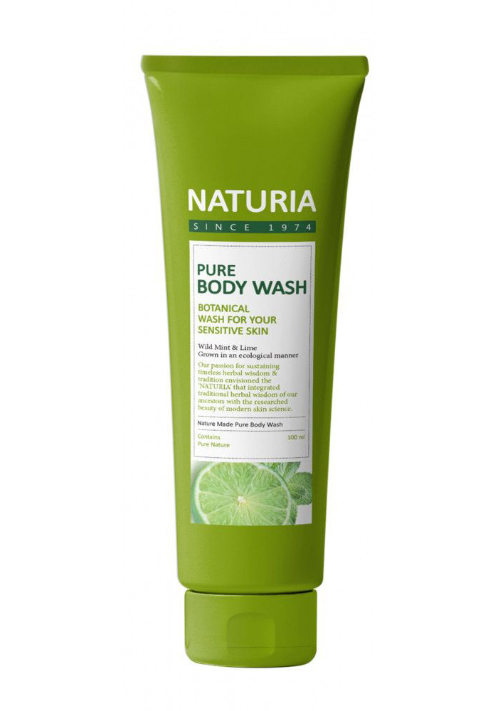 картинка NATURIA Гель для душа МЯТА ЛАЙМ PURE BODY WASH (Wild Mint & Lime), 100 мл от интернет-магазина mom-me.ru