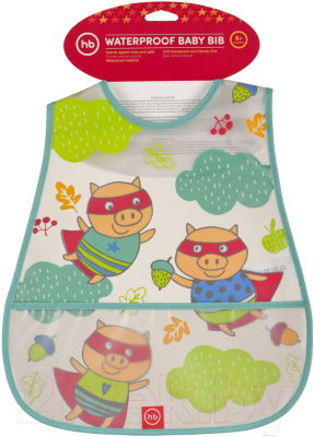 картинка Happy Baby Waterproof Baby Bib Нагрудник на липучке, 6+ от интернет-магазина mom-me.ru